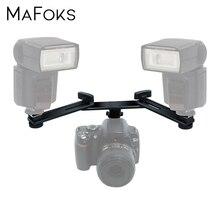 "13"" 33cm Twin Speed Light Dual Hot Shoe Flash Speedlite Mounting Bracket Holder For Canon Nikon Pentax Olympus Sigma Yongnuo"
