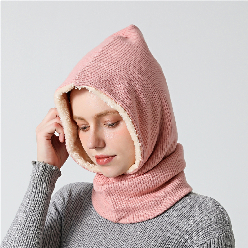Unisex Hat Scarf Women Knitted Winter Scarves Warm Outdoor Skiing Cap Solid Cashmere Snood Thick Men Neck Collar Bandana