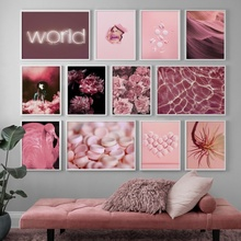Pink Rose Flower Balloon Flamingo Candy Wall Art Canvas Painting Nordic Posters And Prints Pictures For Living Room Decor