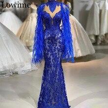 Королевское синее кружевное платье знаменитостей, роскошное красное платье с бусинами, торжественное вечернее платье-Кафтан Abendkleider, платье с перьями