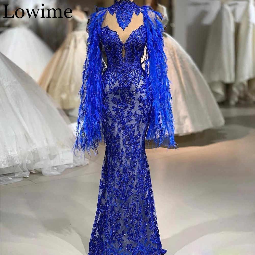 2020 Wholesale Royal Blue Lace Celebrity Dress Beading Gorgeous Red Capet Formal Evening Dress Kaftan Abendkleider Feathers Gown