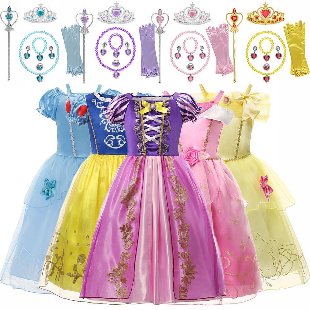 Christmas Princess Belle Dress up for Girls Halloween Party Aladdin Jasmine Anna Cendrillon Snow White Sleeping Beauty Costumes