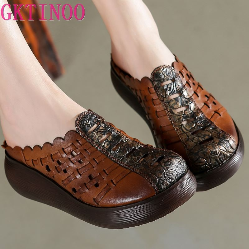 GKTINOO 2020 Retro Slippers Genuine Leather Shoes Handmade Slides Flip Flop On The Platform Clogs For Women Hollow Woman Slipper