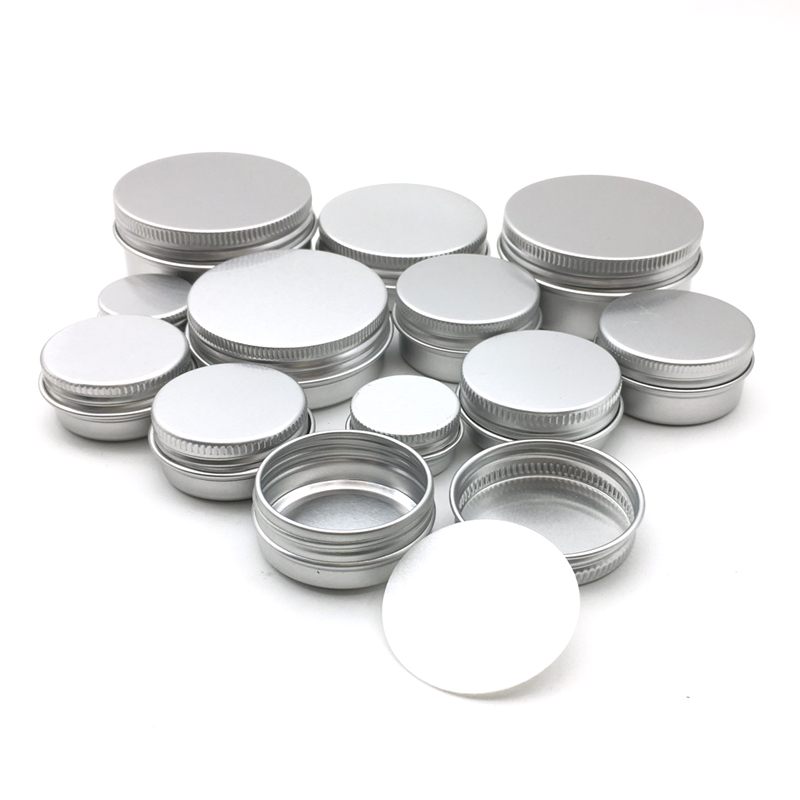 50Pcs 5g 10g 15g 20g 30g 50g Aluminum Jars Empty Cosmetic Makeup Cream Lip Balm Gloss Metal Aluminum Tin Containers