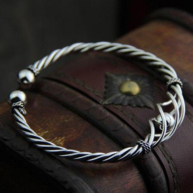 Фото женский винтажный браслет из серебра 100% пробы с плетением цена