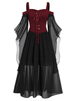 Rosegal 5XL Large Plus Size Maxi Dress Cold Shoulder Butterfly Sleeve Lace Up Halloween Dress Gothic Party Women Vintage Dress