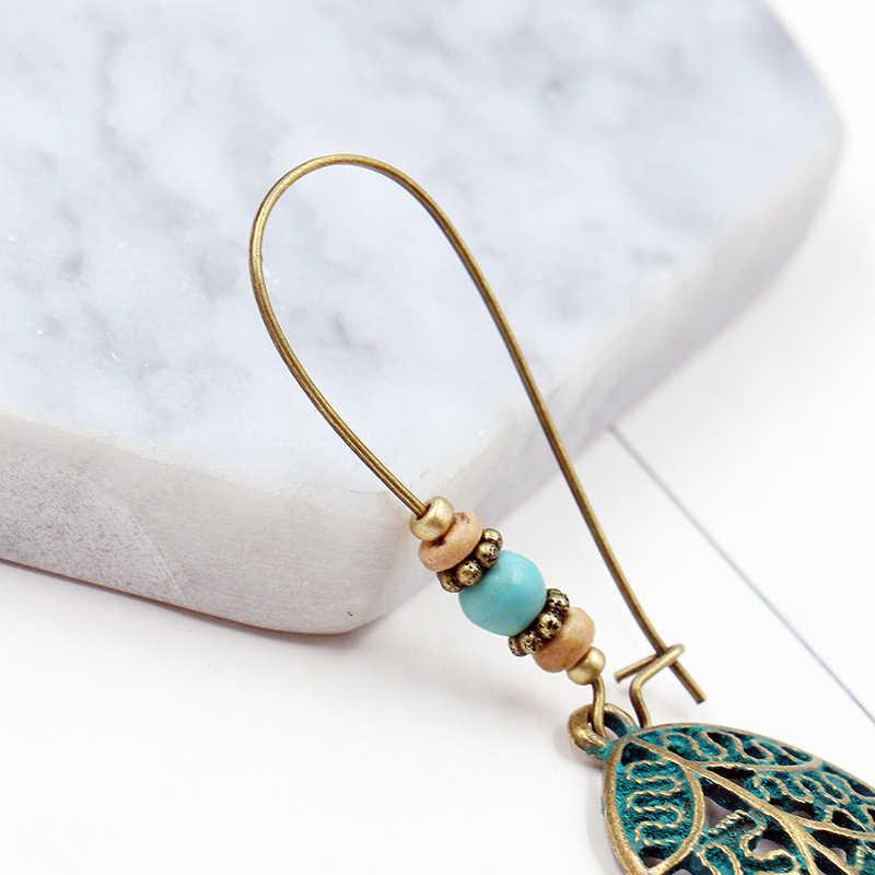 Blätter fallen Ohrring Böhmischen Vintage gold grün Hohlen lange für Frauen zubehör 2019 Party ethnischen baumeln Ohrringe Boho Schmuck
