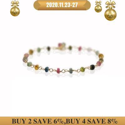 Natürliche Stein Regenbogen Turmalin 925 sterling silber Handgemachte Stricken Glänzende Armband 7  8