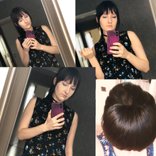 Bangs Human-Hair-Bangs Hime Cut Clip-In with Top-Piece Ponytail Remy