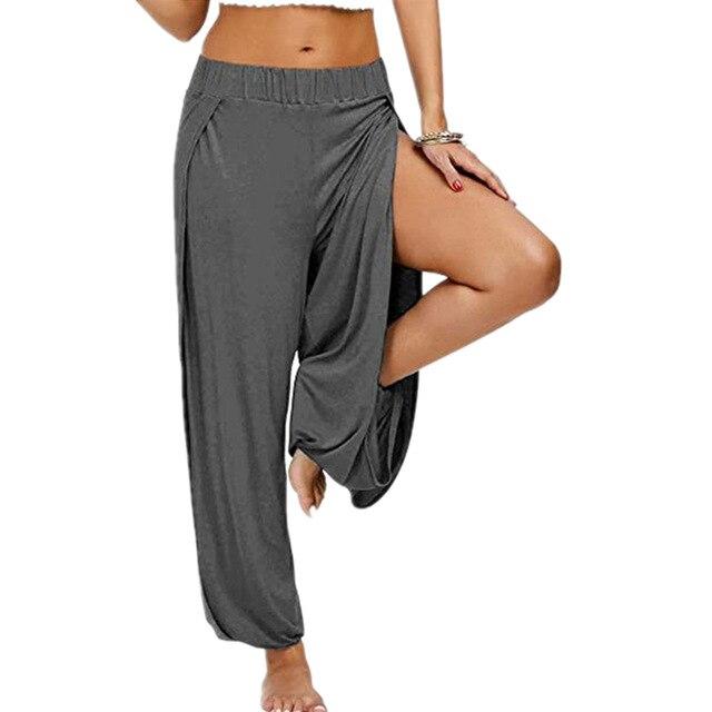 Merry Pretty Summer High Slit Haren Pants Women Solid Hippie Harem Wide Leg Pants Trousers S-3XL 2