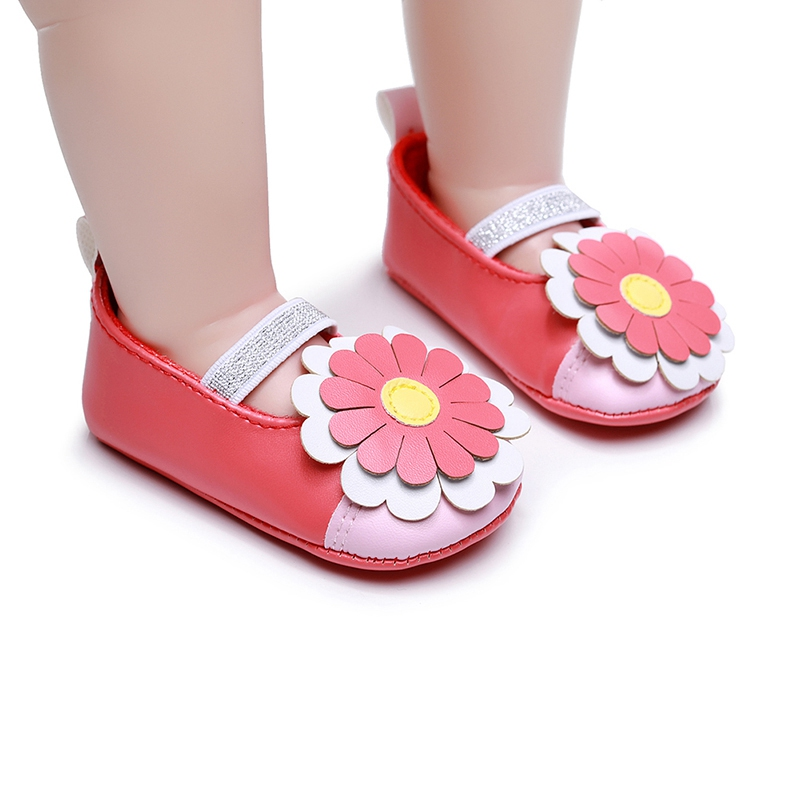 Baby Girls Shoes PU Leather Buckle First Walkers Red Black Pink White Blue Soft Soled Non-slip Footwear Crib Shoes