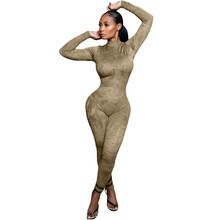Casual Fitness Sporty Rompers Womens Jumpsuit Workout Active Wear Long Sleeve Skinny Slim Bodycon Jumpsuits Overalls for Women