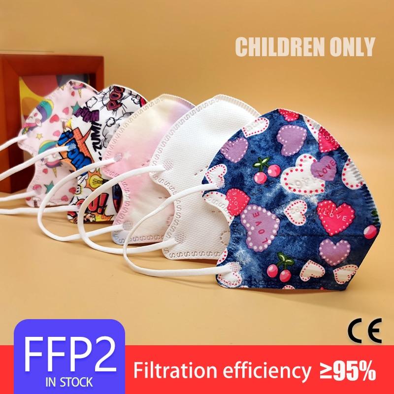 Fit 3-11 Years Cute Unicorn FFP2 Face Mask KN95 Mascarillas Kids Filter 5 Layers Respirator Panda KN95 Masks for Children