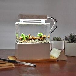 Mini pecera de plástico portátil de escritorio Aquaponic acuario Betta pecera con filtración de agua LED y bomba de aire silenciosa para Decoración