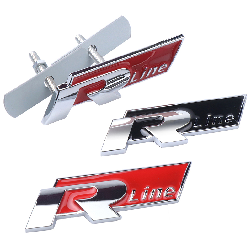 Car Styling R LINE RLINE Emblem Front Grill Body Decoration 3D Metal Sticker For Polo Golf 5 7 Passat B5 B6 Accessories