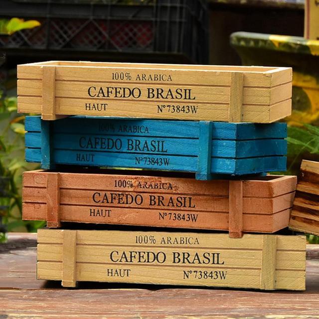 Jardinière rectangulaire en bois pour plantes | Boîtes décoratives et succulentes pour plantes et plantes de jardin style Vintage, dispositif de jardinage pour Pot de fleurs de Table rectangulaire