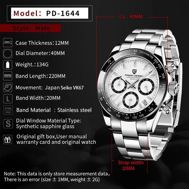 2021 New PAGANI Design Top Brand Men's Sports Quartz Watches Sapphire Stainless Steel Waterproof Chronograph Luxury Reloj Hombre 2