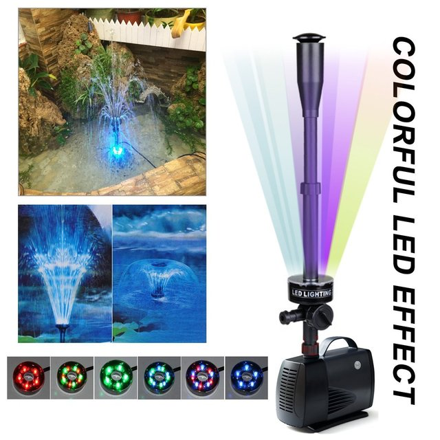 Submersible Aquarium Water Pump with 15 PCS Multi Color Changing LEDs for Hydroponics Garden Pond Fish Tank LED Fountain Pump 7