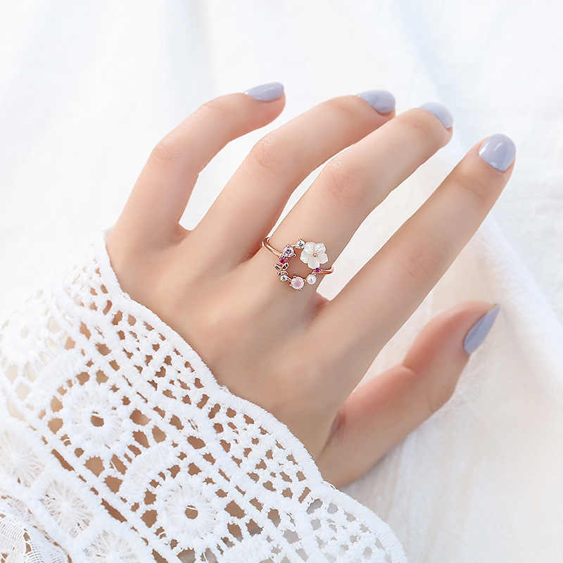 Обручальные кольца с цветком и рисунки бабочек для женщин, свадебные кольца с розовым золотом циркон, гламур, девушки, подарки, ri