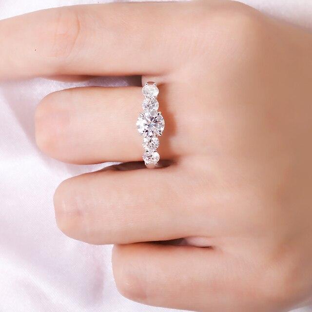2.2 quilates 6.5mm d cor vvs1 redondo excelente corte moissanite casamento anel de noivado sólido 18 k ouro branco anel fino para senhora 6