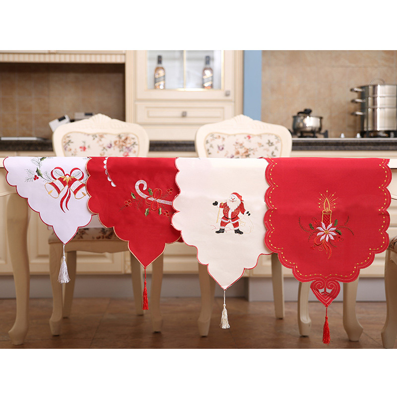 Christmas Table Runner European Embroidered Hollow Table Flag 40*170 CM Santa's Table Runner