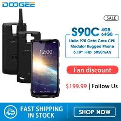 Модульный прочный мобильный телефон DOOGEE S90C, IP68, экран 6,18 дюйма, 12 В, 2 А, 5050 мАч, Helio P70 восемь ядер, 4 Гб 64 ГБ, 16 Мп + 8 Мп, Android 9,0