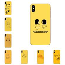 For Samsung Galaxy Note 5 8 9 S3 S4 S5 S6 S7 S8 S9 S10 5G mini Edge Plus Lite Skin Ultra Thin Simple Doodle On Yellow Background(China)