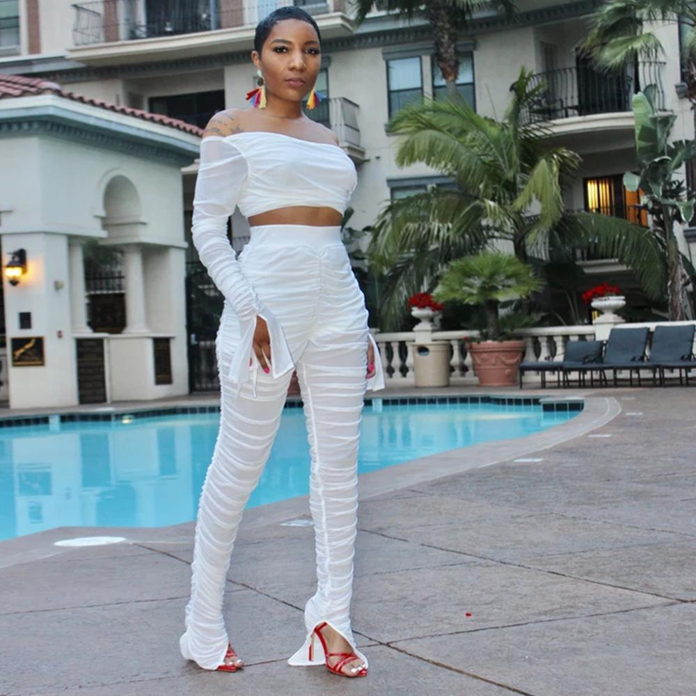 Wjustforu Sexy Sheer Mesh 2 Piece Set For Women Flare Sleeve Pullover Tops + Pencil Pants  Perspective Club Two Piece Set Female
