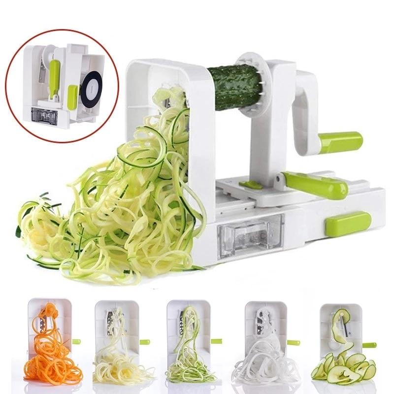 Спиральная овощерезка с 4 вращающимися лезвиями, резак для овощей, макаронных изделий, спагетти, лапши, кухонные терки для овощей, инструмен...