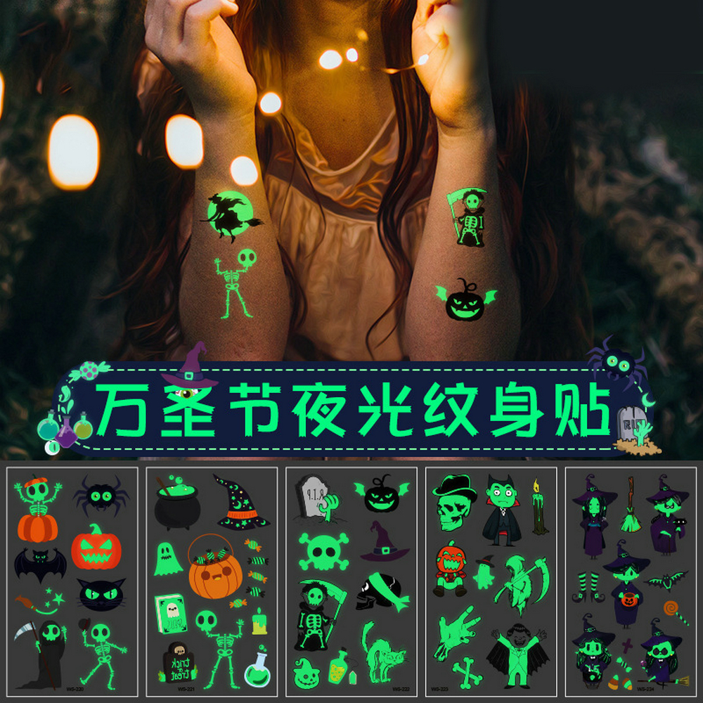 Random 4 Sheets Halloween Tattoo Fluorescence Pumpkin Face Skeleton Ghost Witch Cartoon Kids Tattoo Sticker Toy Glowing In Dark
