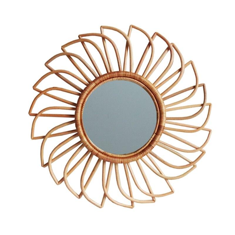 Rattan inovador arte decoração redonda espelho de