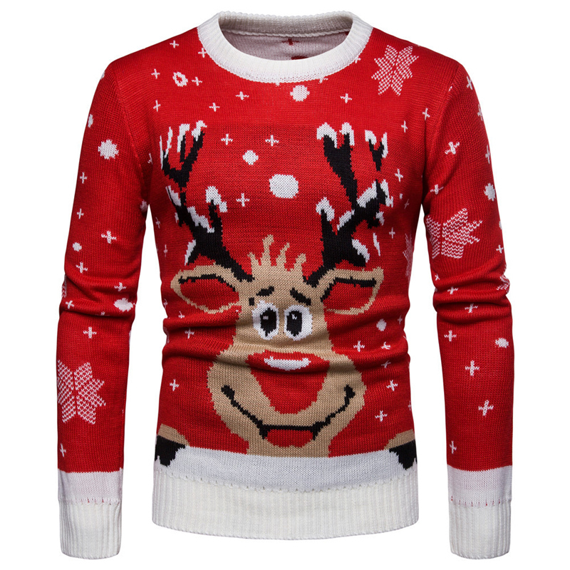 Christmas Sweater For Men Casual Red Color Sweatercoats Man Sweaters Coats Knitted Deer Pattern Wool Pullovers Men Clothing A392