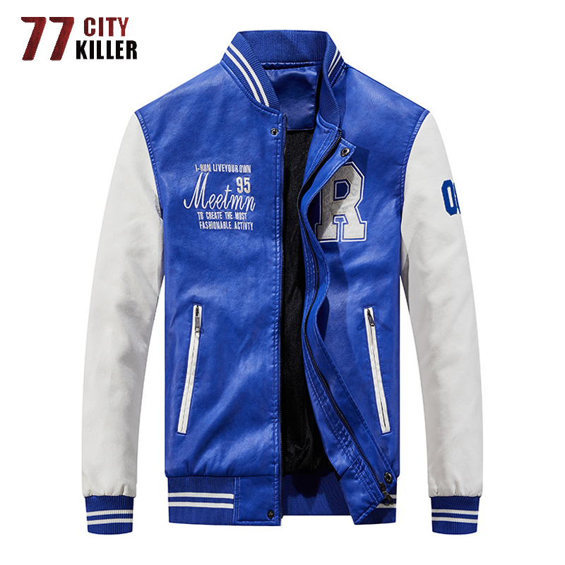 Brand Embroidery Baseball Jackets Men Pu Faux Leather Jacket Male Motorcycle Luxury Fleece Pilot Letter Stand Bomber Men Coats|Jackets| - AliExpress