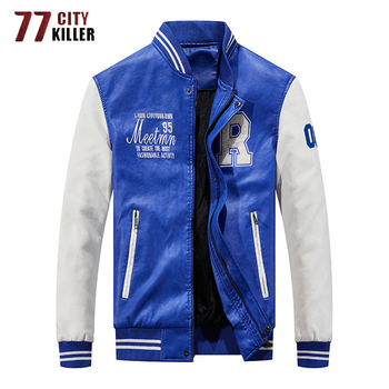 Brand Embroidery Baseball Jackets Men Pu Faux Leather Jacket Male Motorcycle Luxury Fleece Pilot Letter Stand Bomber Men Coats