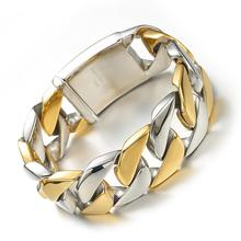 26MM Wide Thick Chain Silver Gold Stainless Steel Men Bracelet Biker Jewelry Friendship Mens Bracelets & Bangles