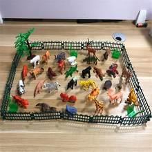 53 Pçs/set De Selva Conjunto Animal Do Brinquedo Mini Mundo Animal Selvagem Modelo Animal Simulação Educacional Toy Presente das Crianças