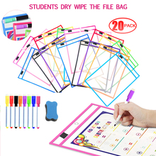 20PCS Dry Wipe The File Bag Reusable Dry Eraser Pockets PVC Transparent Write Wipe Drawing Whiteboard Used for Teaching Supplies