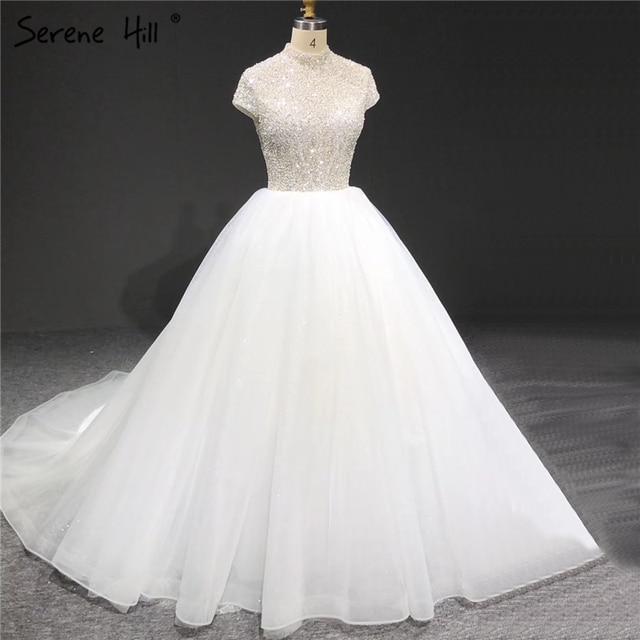 สีขาว Sparkle แขนสั้น Tulle ชุดแต่งงาน 2020 คอเลื่อมประดับด้วยลูกปัดชุดเจ้าสาว HA2280 CUSTOM Made