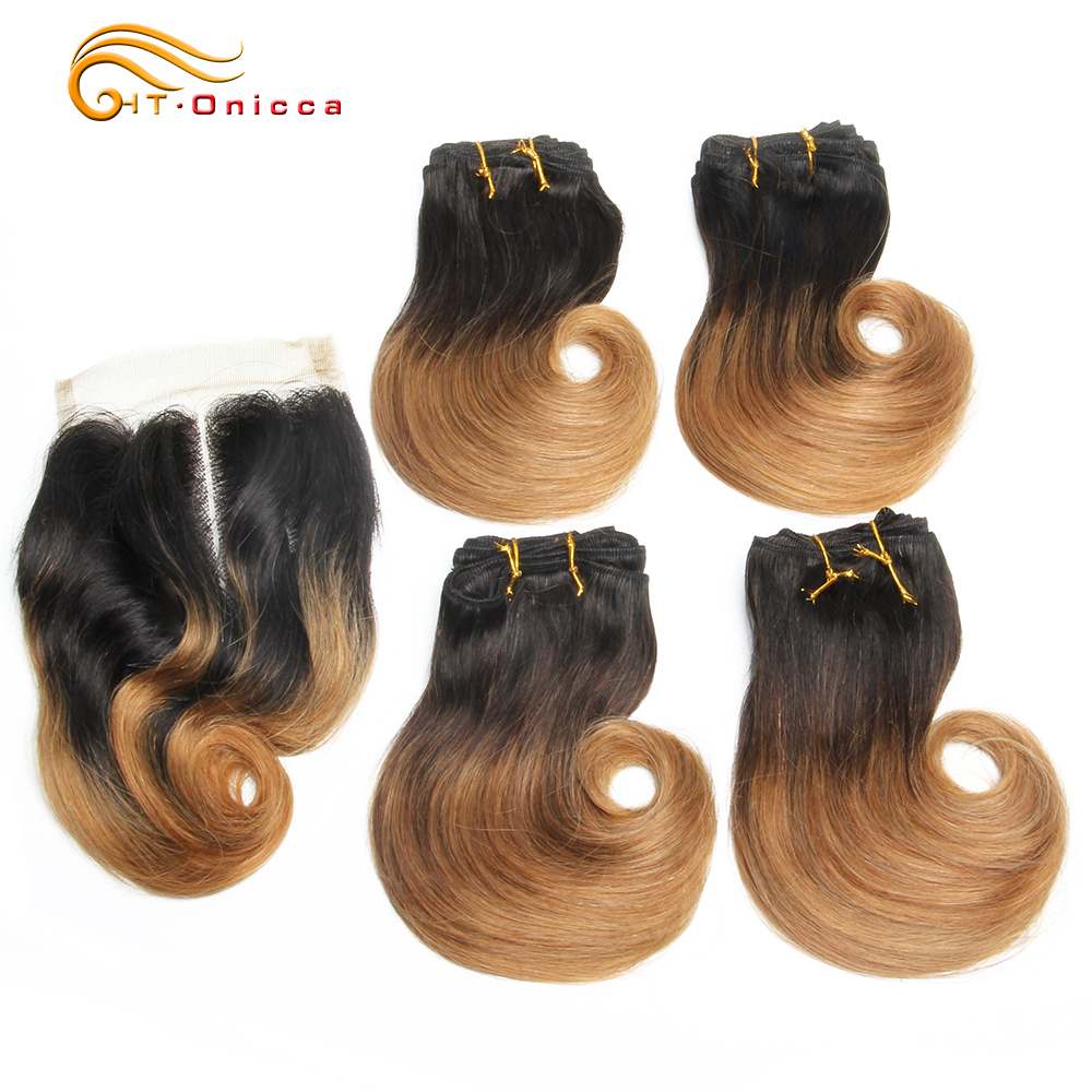 45g/pc Short Curly Bundles 100% Human Hair 4 Bundles With Closure Indian Short Bob Style Human Hair Bundles With Closure Ombre