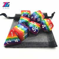 7 unids/set dados arcoiris nueva personalizado dnd juego d4 d6 d8 d10 d12 d20 rpg