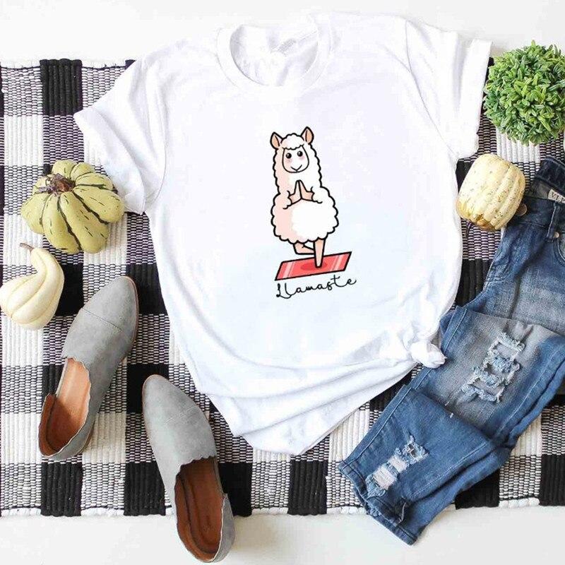 Casual Women Print T-shirt Cotton Cute Plus Size T Shirt Sheep Pattern Tee Harajuku Cartoon Basic Top
