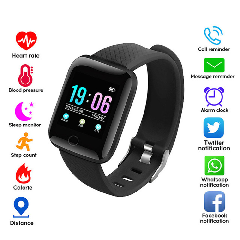 116Plus Smart Wristband Fitness Activity Tracker Heart Rate Monitor Message Reminder Blood Pressure Smart Band