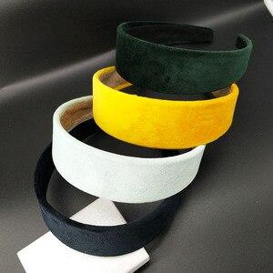 Image 4 - 8PC /4cm szerokość moda kobiety aksamitne szerokie wysokiej jakości DIY Hairband wygodne pałąk prosty czarny losowy kolor