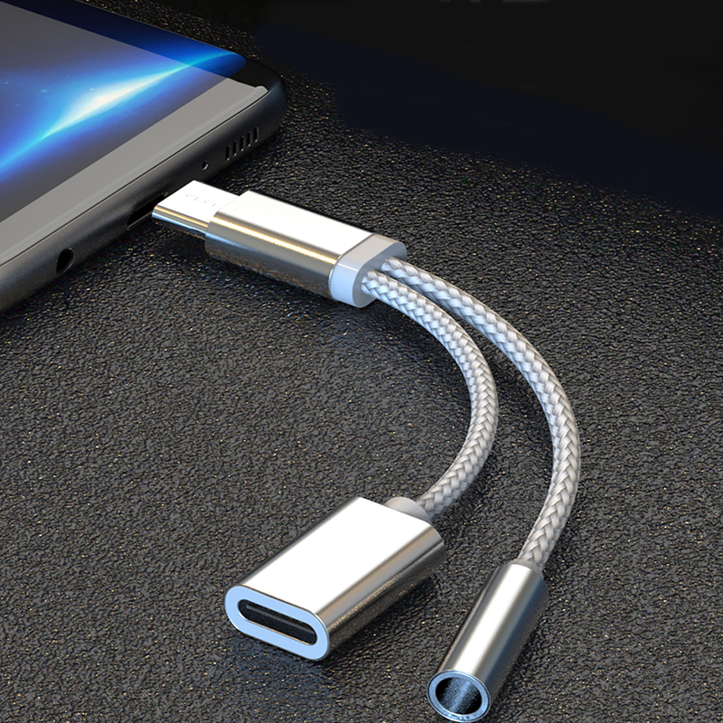 2 In 1 USB Type C Charging Cable Type-C Convertor 3.5mm Audio For Xiaomi Earphone Headphone Adapter For Huawei P20 Pro Lite
