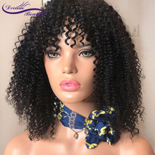 bob curly wig with bangs Brazilian human remy hair 13X4 lace front wig Bleached knots Lace
