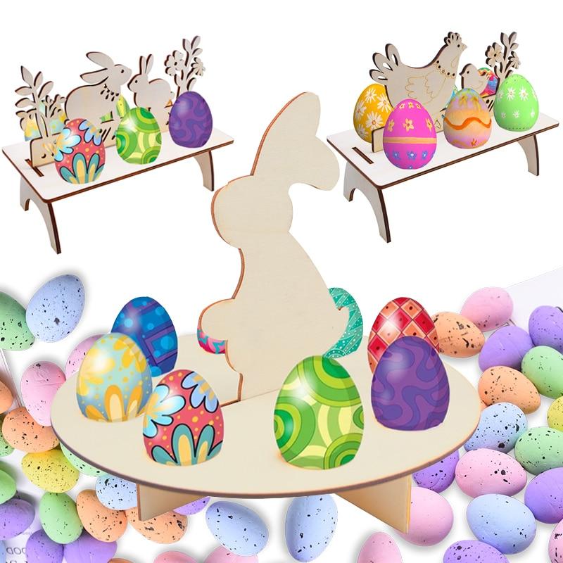 Easter Ornament Wooden Easter Eggs Shelves Stand Chick Rabbit Pattern DIY Eggs Tray Rack Easter Party Home Decor Foam Easter Egg
