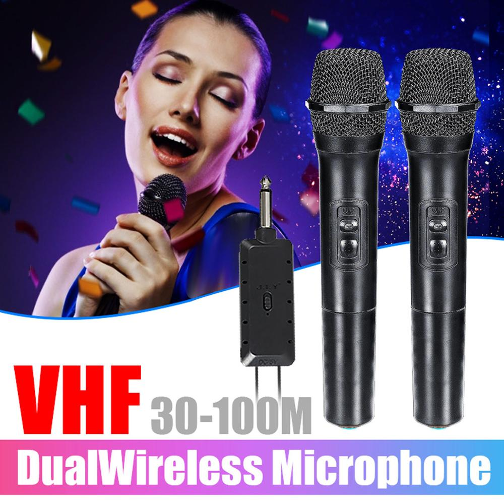 LEORY 2Pcs VHF Microphone Professionnel Wireless Condenser Karaoke DJ Speaker 2 Handheld MIC KTV Player Independent hybrid Autom