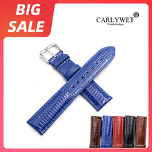 CARLYWET 18 20 22mm Blue Real Leather Lizard Grain Watch Band For Tag Heuer Omega Montblanc Panerai Rolex Tissot IWC Breitling