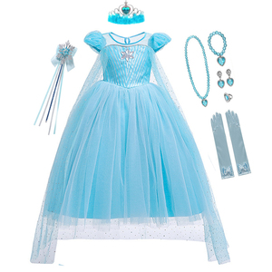 Image 4 - Girls Halloween Cartoon Movie Costume With Accessories Cloak Crown Princess Girls Christmas Costume Snow Queen Cosplay Dress
