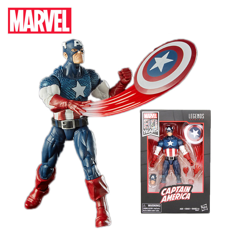 2019 17cm Marvel Comics 80th Anniversary Legends Series Vintage Comic-Inspired Captain America PVC Action Figure Toy Collectible image